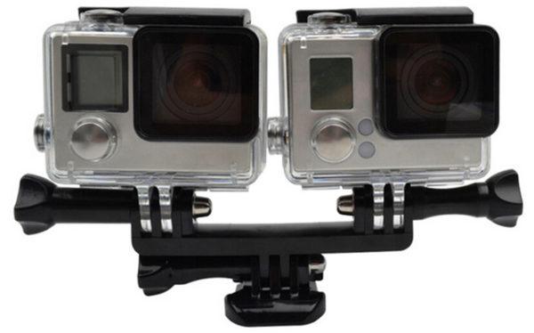 gopro-camera-selfie-stick-diving-mount-monopod-Double-Bracket-Bridge-стойка-екшън-камера-аксесоари-1