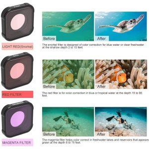 Filtri-za-podvodno-snimane-za-GoPro-Hero-9-Black-Originalen-zahvat-Cherven-Rozov-Lilav-2